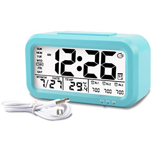 Aitey Kids Alarm Clock, Digital Alarm Clock for Kids, Time/Temperature Display, Snooze Function, 3 Alarms, Optional Weekday Mode, USB Charging (Blue)