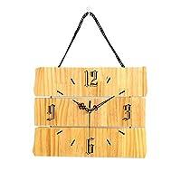 装飾的な壁時計 無垢材の壁時計電池式の無声方法壁時計の居間の寝室の台所オフィス時計の掛かるテーブル デジタル掛け時計