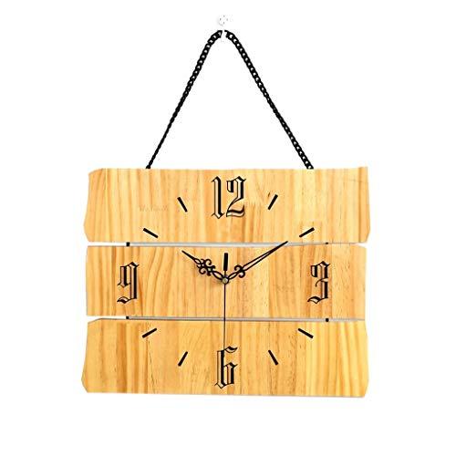 QTBH Reloj de Pared Reloj de Pared de Madera Maciza Alimentado con batería Reloj de Pared de Moda silenciosa Sala de Estar Dormitorio Cocina Mesa de Oficina Reloj Colgante Reloj de Pared silencioso
