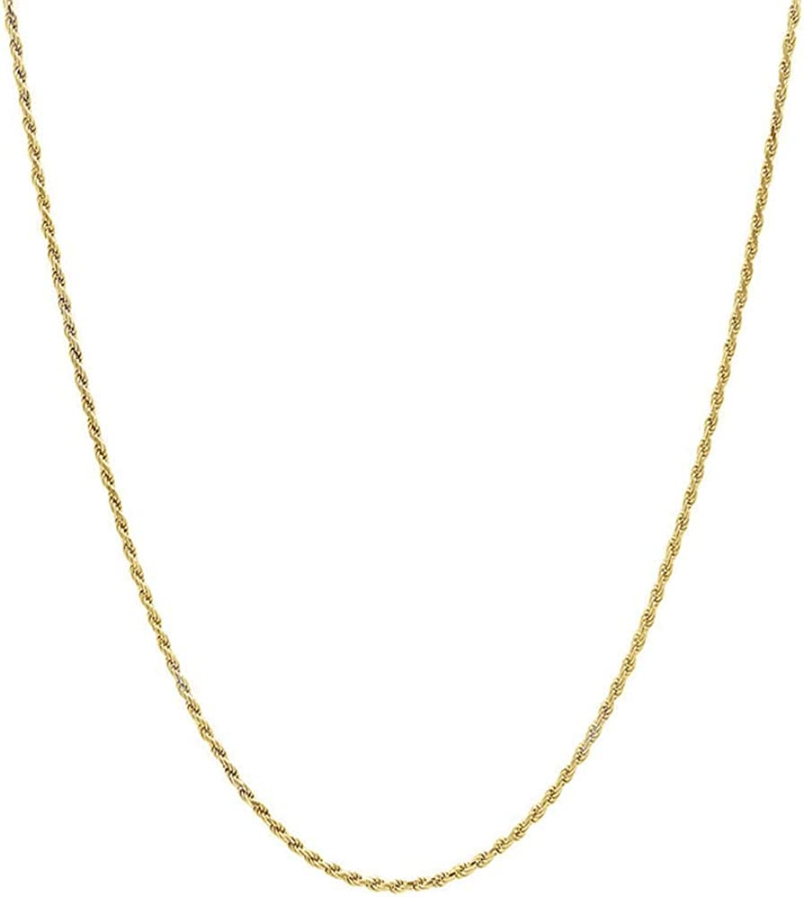 10K Gold Diamond Cut Rope 1.5MM - 4MM Gold Chain Necklace For Men And Women- 16-30, Lobster Clasp, Twist Braided Jewelry Gadget, Perfect For Pendants, 16-30 Inch…