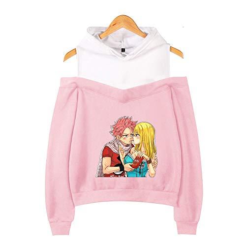 BRQ Hadas Cola- suéter con Capucha, Camiseta de Las Muchachas, Flojo sin Tirantes Sudaderas con Capucha Casual Divertido Sudaderas Tops Ropa (Color : Pink C, Talla : M)