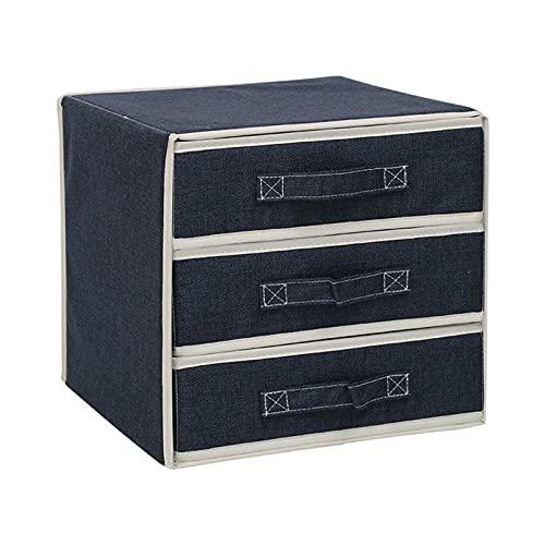 NZQK Cajas de Almacenamiento Lino de algodón Separado Dormitorio Dormitorio Organizador con Cubierta Guardar Espacio (Color : 3x3 Drawers Blue)