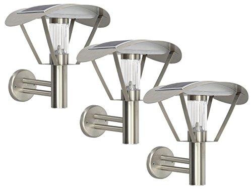 RANEX set van 3 Solar wandlampen, LED buitenwandlamp roestvrij staal, schemeringssensor; 5000.499