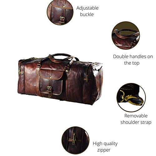 Urban Dezire 24 Inch Vintage Leather Duffel Travel Gym Sports Overnight Weekend Bag New Jersey