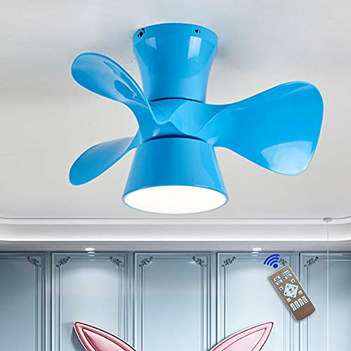 JAHQ Ventilador De Techo con Iluminación De Techo LED,Luz Velocidad del Viento Ajustable Control Remoto Ultra Silencioso Ventilador De Candelabros Luces De Ventilador De Dormitorio, Azul
