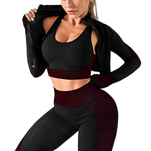 Hainice Yoga Traje Trajes sesión de Gimnasio sin Fisuras Ropa de Manga Larga y Pantalones de Yoga Tops Sujetador Mono Conjunto de Ejercicio Corriente de Deportes Pack de 3 (ZL, púrpura)