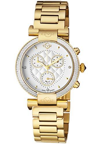 GV2von Gevril berletta Chrono Damen Chronograph mit Diamanten Swiss Quarz mit zusätzlicher Gurt Leder Gold Ton Edelstahl Armband Uhr, (Modell: 1551)