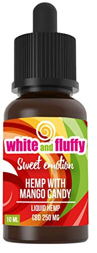White and Fluffy® 250mg CBD Liquid •Sweet Emotion • Test-Note 1,4 • PG VG 10ml • Hanf mit Mango-Bonbon