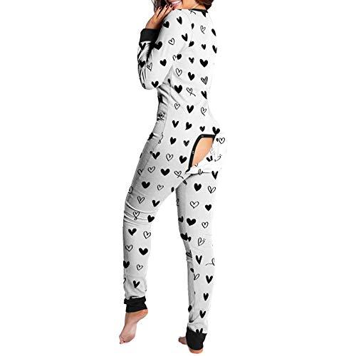 Pijama de una pieza para mujer, con solapa funcional con botones, una pieza de manga larga, mameluco para dormir, 04, XXL