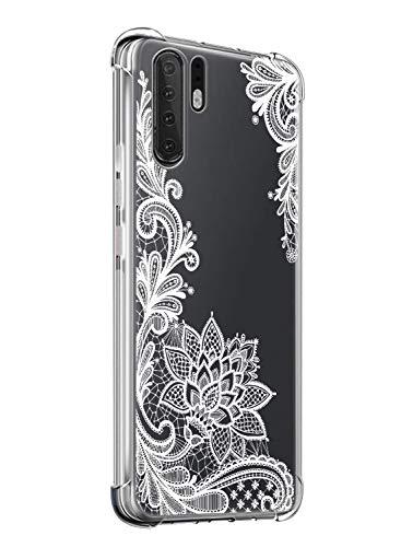 Suhctup Coque Comaptible avec Huawei Honor 8E Étui Houssee,Transparent Motif Fleur [Antichoc Protection des Coins] Crystal Souple Silicone TPU Bumper