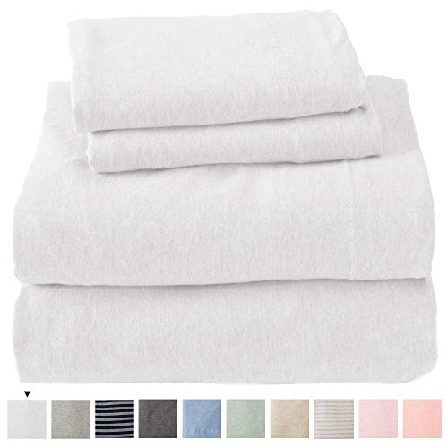 Great Bay Home Jersey Knit Sheets. All Season, Soft, Cozy Queen Jersey Sheets. T-Shirt Sheets. Jersey Cotton Sheets. Heather Cotton Jersey Bed Sheet Set. (Queen, Winter White)