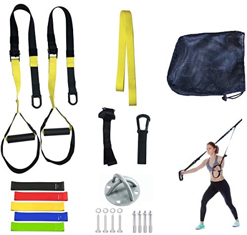 GRASEP Home Gym Bodyweight Resistance Straps Workouts for Home Fitness Bands Kit with Door Anchor Exercise Fitness Equipment to Lose Weight Gym, Home, Travel, Burn Fat, Get Lean(Yellow+Wall Mount)