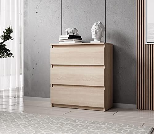 FURNIX Kommode mit 3 Schubladen 70 x 40 x 77 cm in Sonoma Eiche - Schubladenkommode Holz Mehrzweckschrank für Flur Schlafzimmer Wohnzimmer Badezimmer Kinderzimmer als Sideboard Highboard Kippschutz
