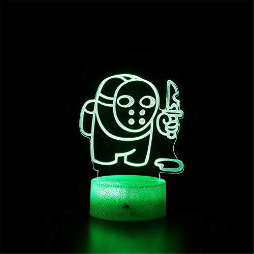 Ilusión óptica 3D entre nosotros H noche luz 16 cambio de color decoración lámpara con control remoto y toque inteligente, Navidad y cumpleaños