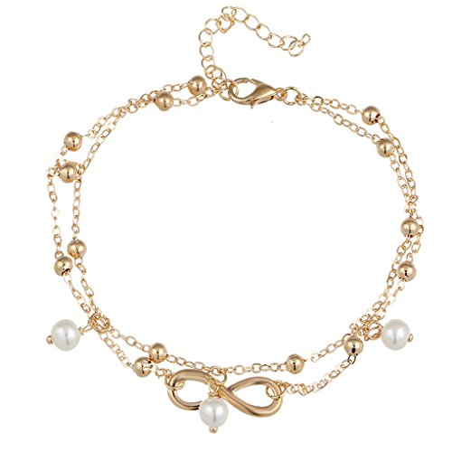 Oneindig symbool Glanzende parel Blootsvoets voetketting, Gouden enkelband voet Voet Enkelband Keten Voet Armband Dames Sieraden