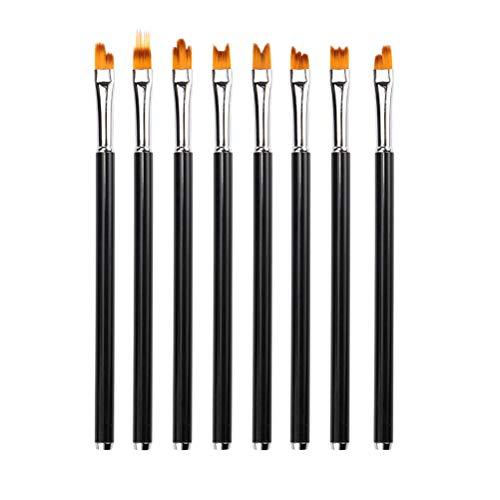 Frcolor 8Pcs Fleur Nail Art Brosses Set Nail Pen Peinture Design Brosses pour Salon (Noir)