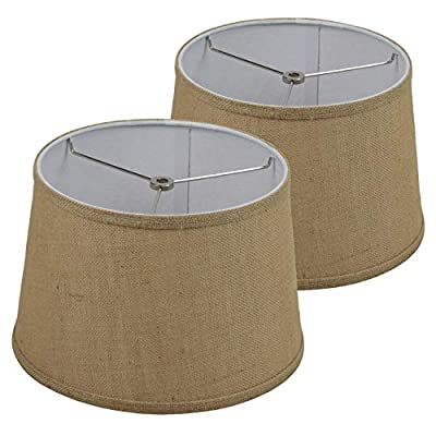 """FenchelShades.com Set of 2 Lampshades 10"""" Top Diameter x 12"""" Bottom Diameter x 8"""" Slant Height with Washer (Spider) Attachment for Lamps with a Harp"""