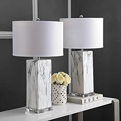 Safavieh LIT4500A-SET2 Lighting Collection Olympia Black and White Marble Table Lamp,