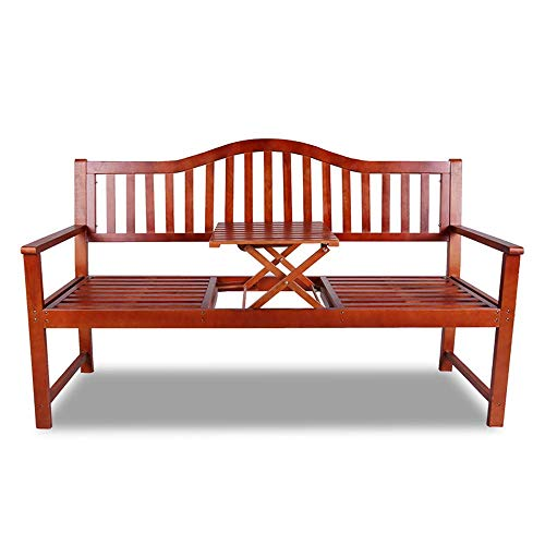 UWY 3-seater Wooden Garden Backyard Bench Outdoor Bench, Liftable Balcony Table And Chair Terrace Bench, Indoor Living Room Lounge Bench With Backrest and Armrests, for Lawn/front Porch