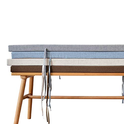 LRuilo Indoor Premium Long Bench Cushion 3/5cm Thick,100/120cm Bench Saet Cushion Pad with Tie,2 or 3 Seater Garden Cushions for Outdoor (Grey,120x30x5cm)