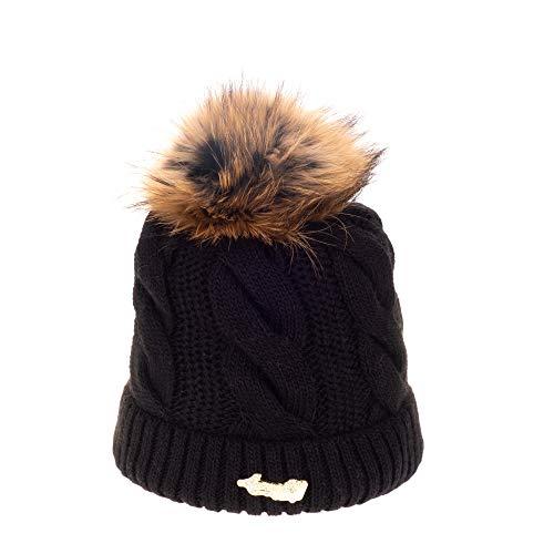 Avanti Konieczko Damen Wintermütze mit Mikrovlis unterfüttert, Winter Mütze, Bommelmütze, Warme Strickmütze mit Pelz-Strick oder Naturfell Bommel (schwarz-Natural, Marderhund-Fell)