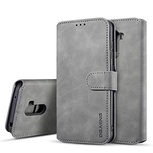 xinyunew Hülle Kompatibel mit Xiaomi Poco F1 Hülle, 360 Grad Handyhülle + Panzerglas Premium Handy Schutzhülle Leder Wallet Tasche Flip Brieftasche Etui Schale (Grau)