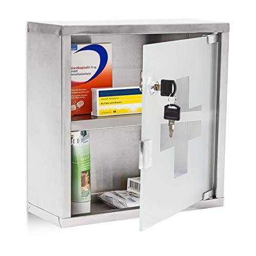 *Medizinschrank Arzneischrank Hausapotheke aus Edelstahl & Glas*
