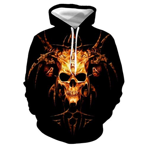 Mode Kreative Gold Schädel 3D Digital Printed Hoodhood Fashion Hood Paar Kleid, W-Y, X-Large