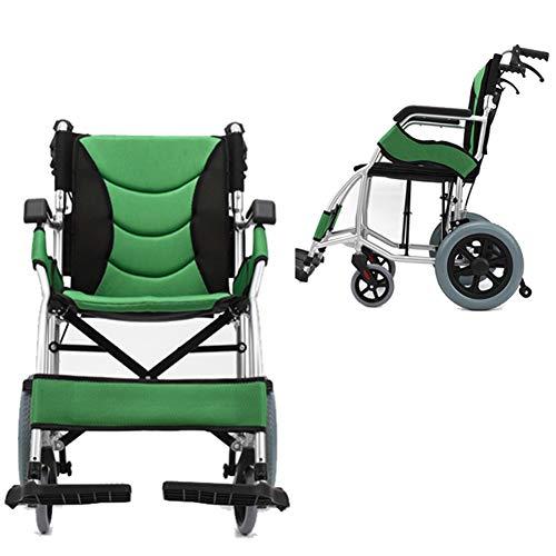 OMLTER Leichtklapprollstuhl Mit Handbremsen, Aluminiumlegierung Mini Rollstuhl Für Senioren Behinderte