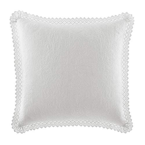 "Laura Ashley Home Solid Crochet | Premium Quality Pillow Sham, Decorative Pillow Case for Bedroom Living Room and Home Décor, 26"" x 26"", White"