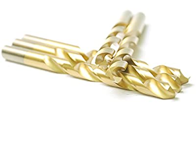 "DRILLFORCE 5 PCS,5/16 ""-1/2"", HSS Jobber Length Titanium Coated Twist Drill Bits, Metal drill, ideal for drilling on mild steel, copper, Aluminum, Zinc alloy etc. Pack in Plastic Bag"