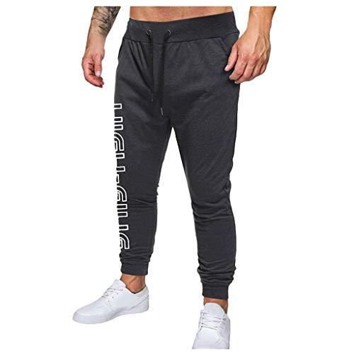 NEVRTP Pantalones de deporte para hombre, pantalones de chándal, pantalones de chándal para el tiempo libre, pantalones de chándal, ropa de calle gris oscuro M