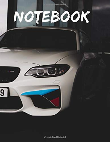White BMW M3 Competition Coupe Notebook: Wide Ruled Notebook 120 pages 8.5x11