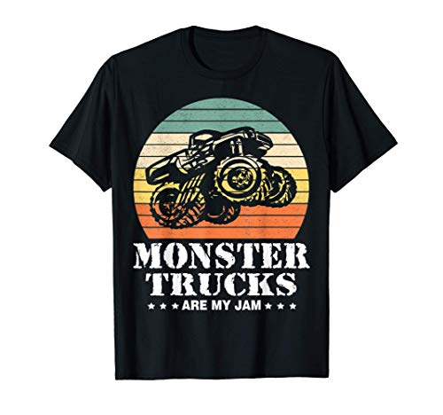 Vintage Monster Truck Are My Jam Retro Sunset Cool Engines T-Shirt