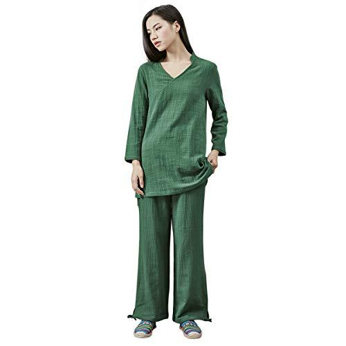 KSUA Traje de meditación Zen para Mujeres Ropa de Kung fu Chino Traje de Tai Chi Traje de Yoga de algodón Uniforme de Artes Marciales, Verde Oscuro EU M/Etiqueta L