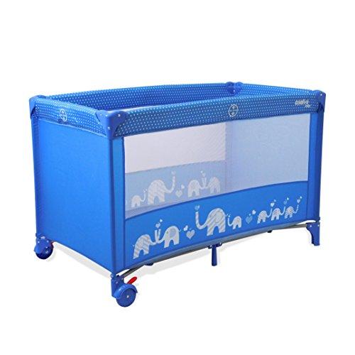 Asalvo Lettino da Viaggio Cuna de Viaje baleares Elefantes, Color Azul, 1 Unidad (Paquete de 1) (Elemed UK Catalog Listing 15372)