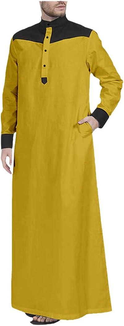 LOIUYBM Muslim Jubba Thobe for Men, Long Sleeves Texture Patchwork Islamic Clothing, Muslim Fashion Robe