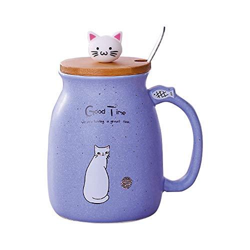 Taza Gato Linda taza de café de cerámica con Gatito encantador tapa de madera Cuchara de acero inoxidable, Novedad Copa de la mañana Té Leche Navidad Jarra Regalo 380ML (Púrpura)