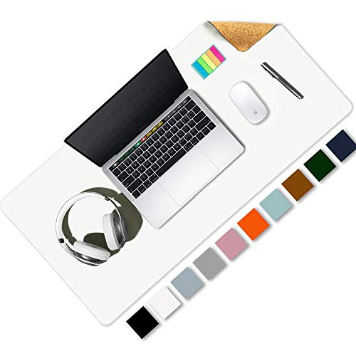 """Aothia Office Desk Pad, Eco-Friendly Cork & PU Leather Dual Side Large Mouse Pad, Laptop Desk Table Protector Writing Mat Easy Clean Waterproof for Office Work/Home/Decor (White,31.5"""" x 15.7"""")"""