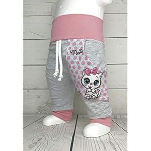 Baby Pumphose mit Tasche Gr. 50-104 Kätzchen grau altrosa Handmade Puschel-Design