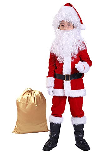 Bapbog Children's Deluxe Santa Suit Christmas Costume,Kids Christmas Halloween Costume Cosplay Set of 10 Pcs L