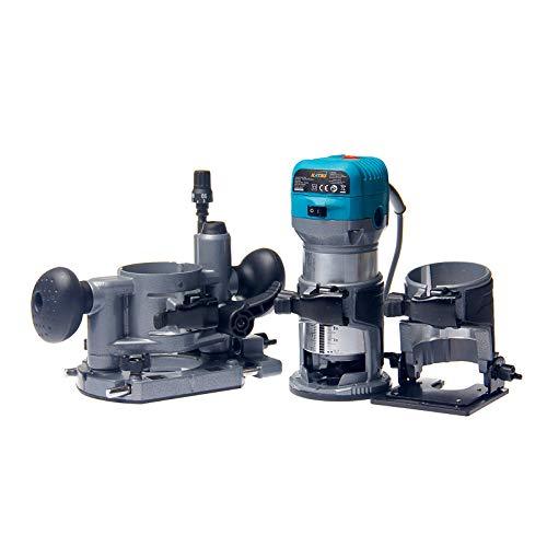 KATSU Set di Rifilatore Fresatrice Verticale per Legno Elettrica 220V 710W con 3 Basi + 3 Pinze da 6mm, 8mm e 10mm