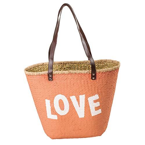 LaFiore24 Einkaufstasche Ibiza Strandtasche Badetasche Korb Love Shopper Sauna Picknickkorb Orange