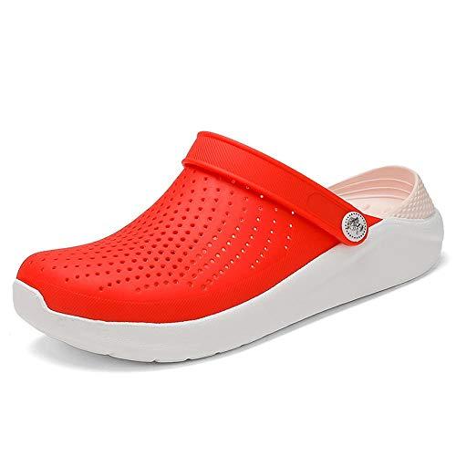 Chanclas Unisex Zapatos De Agujero Croc Zuecos Zapatos Unisex Summer Beach Sandals Hombres Crock Flat Hole Shoes Mans Crocks Crocse Sandalias 8 Red