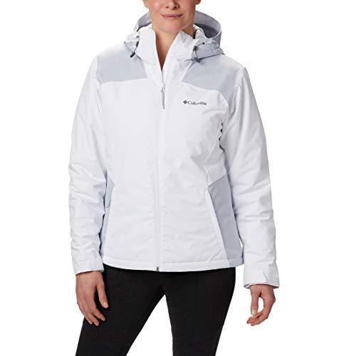 Columbia Tipton Peak Insulated Chaqueta De Esquí con Capucha, Mujer, Blanco, Gris (White/Cirrus Grey), L