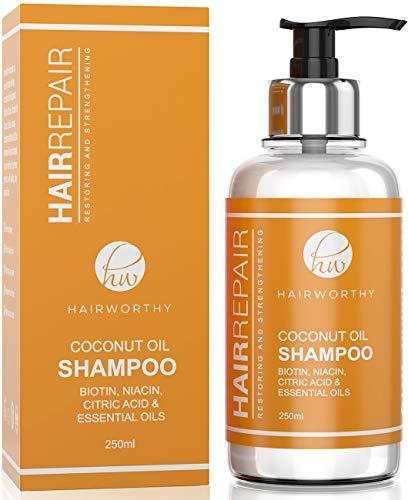 Hairworthy Hairrepair-Kokosnussöl-Shampoo - BIOTIN, NIACIN, ZITRONENSÄURE u. ÄTHERISCHE ÖLE