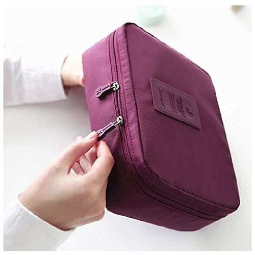 2 Pieces/lot Multifunction Man Women Cosmetic Bag Beauty Storage Case Organizer Toiletry Bag Travel Large Capacity Wash Pouch(wine red)