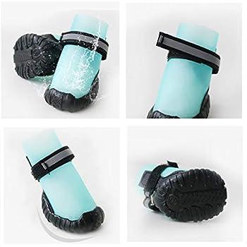 VICTORIE Bottes Chien Chaussure Respirantes Chausson Antidérapant Étanche Randonnée Voyage Montagne 4PCS Bleu M