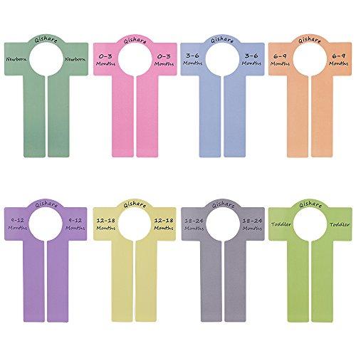 Qishare 8pcs Baby Kleidung Teiler, Baby Boy Mädchen Schrank Teiler für Organisation, Kindergarten Kleiderbügel mit Größen Neugeborenen 0-3 Monate bis Kleinkind 18-24 Monate (mehrfarbig)