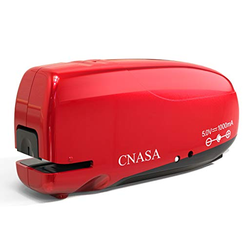 Build-in Staple Remover, CNASA Electric Automatic Stapler, Battery Rechargeable Stapler Jam-Free for Office School Home (Red)